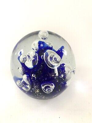 Vintage Heavy Hand Blown Cobalt Blue Controlled Bubble Art Glass Paperweight