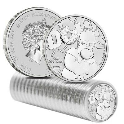 Roll of 20 - 2019 1 oz Tuvalu Homer Simpson Silver Coin .9999 Fine Silver BU In