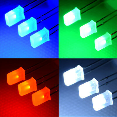 100pcs 2*5*7mm Rectangular Square LED Diodes White/Green/Red/Blue In UK