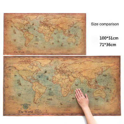 The old World Map large Vintage Style Retro Paper Poster Home decor Fad UK