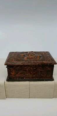 Vintage Hand tooled Leather Box With Chain Handles.  Good condition