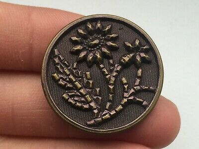Antique large faux beading floral Victorian button with burgundy tint
