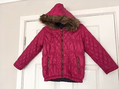 Girls Bright Pink Fur Hooded Winter Padded Coat 6 Years ⭐️GC⭐️