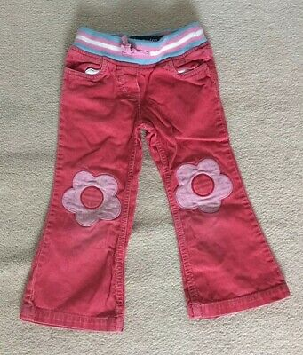 Mini Boden Girls Cord Trousers Flower Knee Patch Age 3 Years
