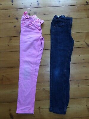 NEXT girls 2 pairs of Blue Pink skinny jeans AGE 10