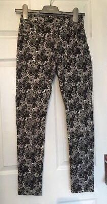 Girls Light Grey Floral Print Trousers 13-14 YEARS ⭐️VGC⭐️