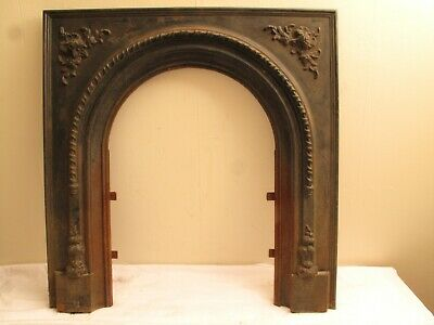 Antique Cast Iron Ornate Fireplace Surround Victorian Fancy 1880'S Rope Edge