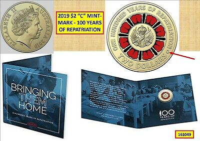 """2019 $2 """"One Hundred Years Of Repatriation"""" Colour Unc Carded """"C"""" Mint 161049..^"""