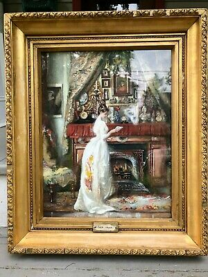 Signed 19th Century Painting by Francis Sutherland Victorian Genre Orig Frame NR