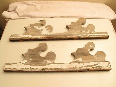 Antique Victorian Gingerbread Trim Wood Wooden 19Th C 1880S Chippy Paint Scrolly