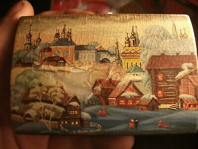 Vintage Hand Painted on mother of pearl Russian Box folk art at fault