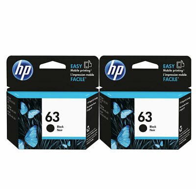 2PK GENUINE NEW HP 63 Black Ink Cartridge for ENVY 4520 4522 Officejet 3830 4650