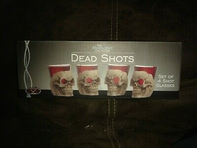 Set Of 4 Shot Glasses Dead Shots Skulls Holders NIB Bar Originale