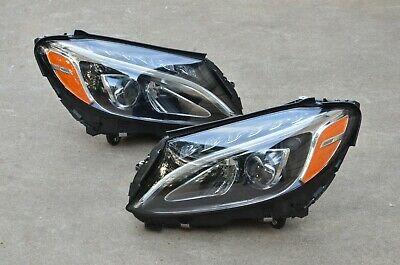15 16 17 18 Mercedes W205 C-Class Left + Right LED Headlight Set Pair LH+RH  OEM