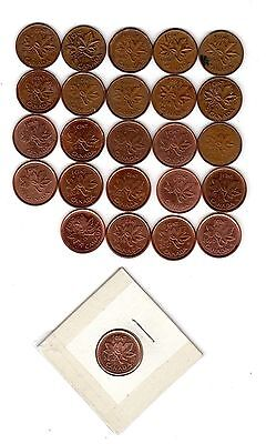 CANADA LOT OF 25 DIFF. CENTS CIRCULATED BETWEEN 1950's AND 2012 MUST SEE!!!