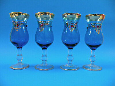"""Vintage 1960's Italian 6"""" Sherry/Wine Blue Glasses Gold Gilt w/Red Glass Bede"""