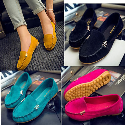 Women Ladies Moccasin Slip On Suede Pumps Casual Moccasins Loafers Shoes Fashion