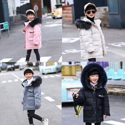 New Kid Girls Boys Faux Fur Hooded Parka Down Coat Puffer Jacket Padded Overcoat