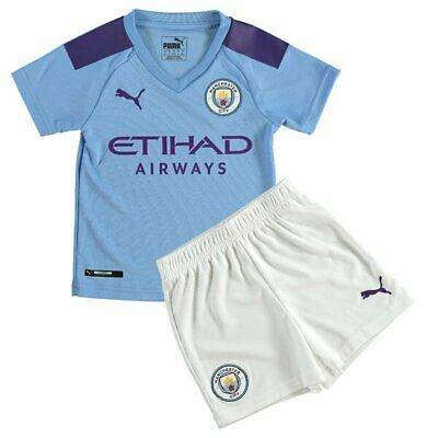 Manchester City Home Away Child Kids Youth Kit Shirt Shorts 19/20