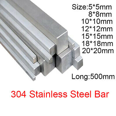 """5*5mm - 20*20mm 304 Stainless Steel Solid Square Bars Metal Rod Stick 500mm /20"""""""