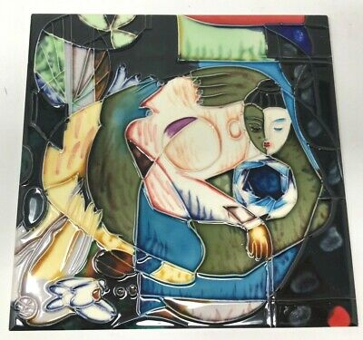 Handpainted Ceramic Art Tile LARGE 7 3/4 x 7 3/4 Installation Backsplash Trivet