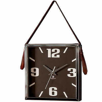 NEW Tarly Wall Clock with Faux Leather Strap - Bella Casa,Clocks