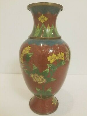Antique Vintage Chinese Cloisonne Miniature Gilt Bronze  Type Vase