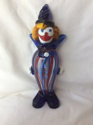 "HEAVY Vintage LARGE Murano Glass Clown Figurine Striped 10"" TALL Very Good E4"