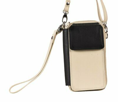 Cenzoni Small Wallet Bag Two Tone Beige Cowhide Leather