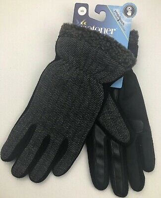 Isotoner Mens Loden Gloves Black/Gray Large Smartouch Touchscreen Poly Rayon NEW
