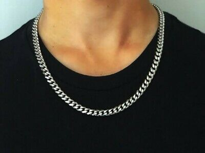 7mm 925 Sterling Silver men hiphop Classic link Box  chain necklace S2696