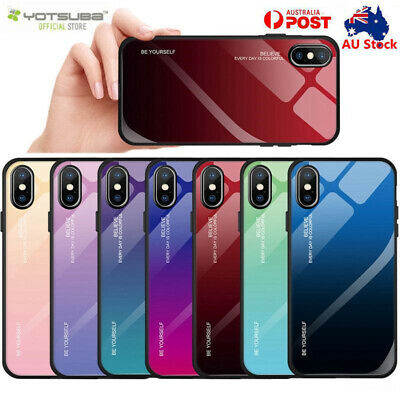 iPhone XR XS Max X 8 7 Plus Gradient Tempered Glass Back Phone case Cover Apple