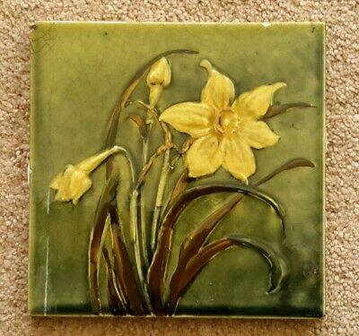 Rare & Beautiful Arts Crafts Hand Painted Tile