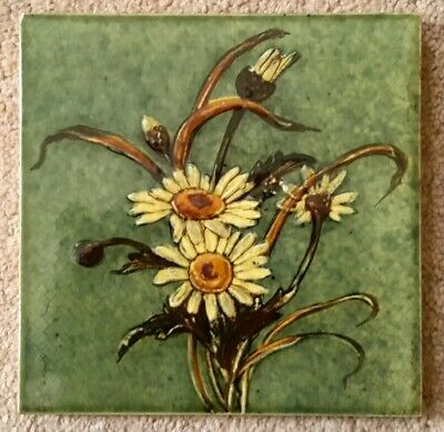 Rare Arts & Crafts Hand Painted Ebossed Majolica Tile.