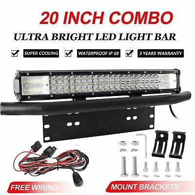 20 inch 480W CREE LED Light Bar Combo + 23'' Number Plate Frame Mounting Bracket