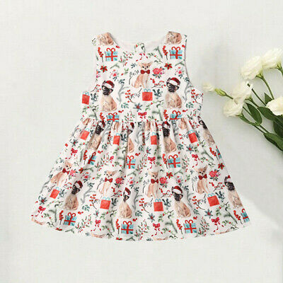 AU Christmas Baby Toddler Kids Girls Cartoon Dog Festival Party Dresses Clothes