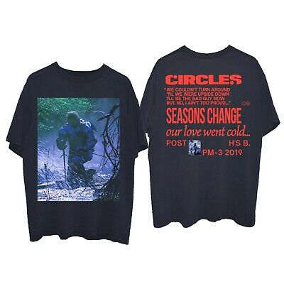 Post Malone 'Circles' kneeling Hollywood's Bleeding album 2019 - NAVY T-shirt
