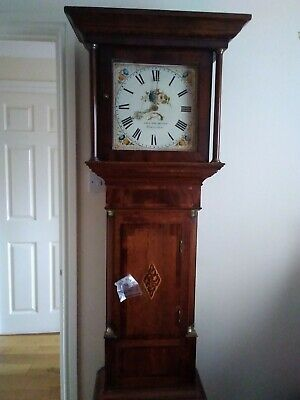 Antique English 30 hour Weight Driven Solid Oak Cottage Grandfather Clock