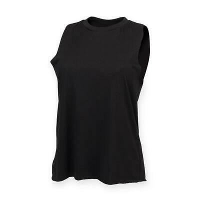 SF Ladies Fitted Sleeveless High Neck Womens T-Shirt Polycotton Vest Top UK
