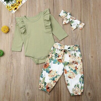 AU Newborn Infant Baby Girl Floral Outfit Clothes Romper Tops+Pants+Headband Set