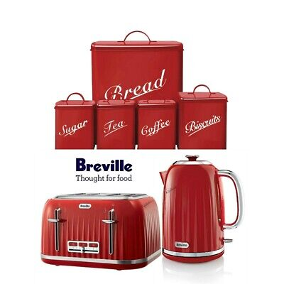 Breville Red Impressions Kettle and Toaster Set & 5 Piece Canister Set New