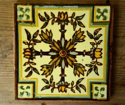 Arts & crafts floral stencilled tile