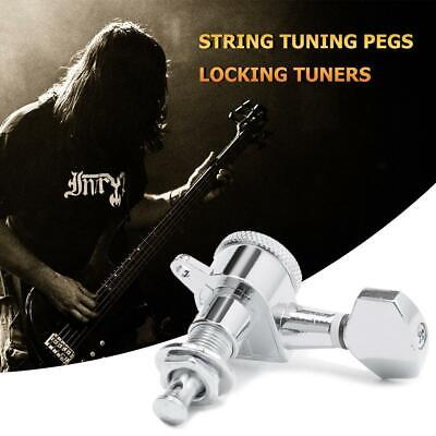 6pcs 6R Inline Guitar String Peg Locking Tuners Tuning Pegs Heads (Silver)