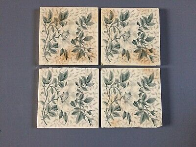 4 X Beautiful Mintons Antique Victorian Tiles Of Floral Design