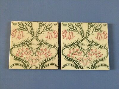 2 Stunning Antique Victorian Art Nouveau Tiles Of Geometric Floral Design