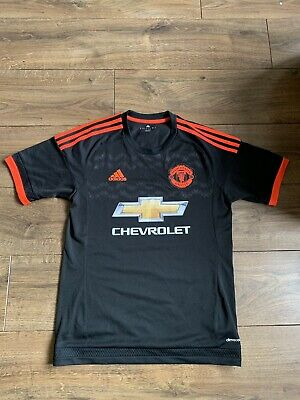 Manchester United 3rd Shirt 2015. Small Adults. Adidas. Black Man Utd Top Only.