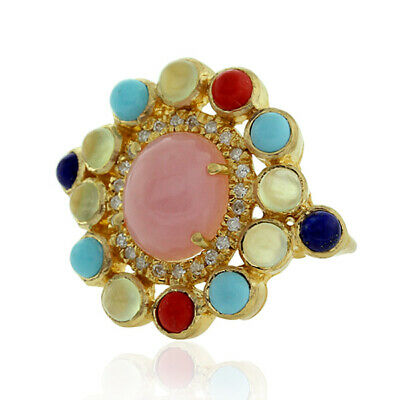 8.91ct Natural Mix Stone Cocktail Ring 18k Yellow Gold Jewelry