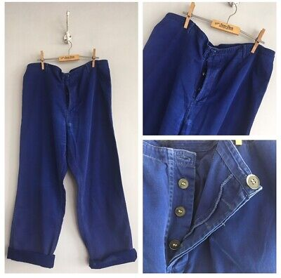 "Vintage Blue Cotton Chore Workwear Trousers Pants W36"" L Hole Fade Darning"