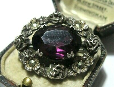 Antique Art Deco Sterling Silver Marcasite Stone Amethyst Crystal Rose Brooch