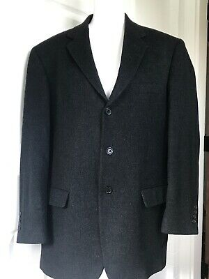 Pre-Owned Andrew Fezza Wool 3 Button Blk/Gray Blazer Suit Jacket Sz:42R